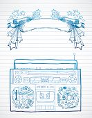 stock photo of lined-paper  - Hand drawn boombox and banner on lined paper - JPG