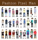 Fashion Pixel Man - Vector Illustration