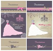 Cards with vector wedding dress