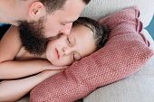 Love And Tenderness. Caring Father Kissing His Daughter Goodnight. Happy Fatherhood And Sweet Family poster