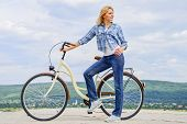 Benefits Of Cycling Every Day. Keep Fit Shape Easy With Regular Cycling. Girl Ride Cruiser Bicycle.  poster