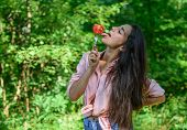 Seductive Appetite. Girl Holds Fork With Juicy Ripe Tomato. Girl Adores Ripe Tomatoes. Girl Seductiv poster