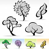 NEW ! ABSTRACT CALLIGRAPHIC TREE ICON SET