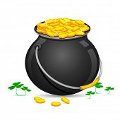 image of saint patricks day  - illustration of Gold Coin Pot of Saint Patrick Day with clover leaves - JPG
