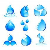 illustration of set of water drops in different shapes