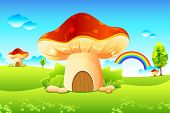 pic of fairy-mushroom  - illustration of mushroom homes in beautiful meadow - JPG