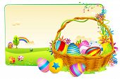pic of easter basket eggs  - illustration of basket full of colorful decorated easter eggs on meadow - JPG