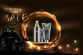 Beauty Product, Black Cosmetic Containers With Advertising Background Ready To Use, Halloween Concep poster