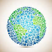 picture of earth  - illustration of earth made of human hand on abstract background - JPG