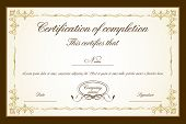 stock photo of certificate  - illustration of certificate template with floral frame - JPG