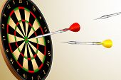 illustration of colorful dart aiming at dart board