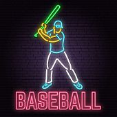 Neon Baseball Sign On Brick Wall Background. Vector Illustration. Neon Style Design With Baseball Ba poster