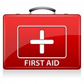 stock photo of first aid  - illustration of first aid box on white background - JPG