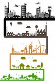 stock photo of earth structure  - illustration of different stages of development showing sustainability of earth - JPG