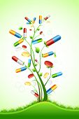 picture of pain-tree  - illustration of tree with medical pill on abstract background - JPG