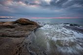 Seascape During Sunrise. Beautiful Natural Seascape, Blue Hour. Sea Sunrise At The Black Sea Coast.  poster