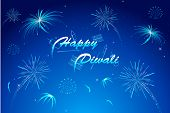 picture of deepavali  - illustration of diwali wish with firework in night sky - JPG