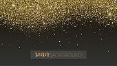 Golden Glitter Texture. Sparkling Snow Dust Falling Down. Template For New Year And Christmas Cards. poster