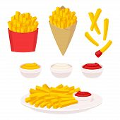French Fries Vector Illustration Set. Potato Fries In Fast Food Box, Paper Cone And On Plate. Dippin poster