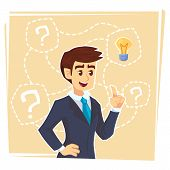 Businessman Thinking About Creative Idea. Business Man Standing With Question Marks And Idea Light B poster
