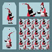Scandinavian Christmas Set: Labels, Postcard, Bookmark, Insert. Template. Gnome Gives A Pot Of Chris poster