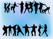 Silhouettes of boys and girls dancing on different hip hop style: Krump, Clowning, Break dance, Old