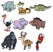 Nine cute wildlife cartoon animals.