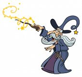 image of merlin  - Cartoon wizard casting spell - JPG