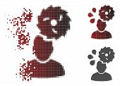 Circular Saw Accident Icon In Sparkle, Dotted Halftone And Undamaged Whole Versions. Pixels Are Arra poster