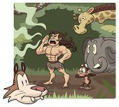 picture of tarzan  - Cartoon Tarzan character yelling with animals in the background - JPG