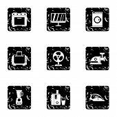 Home Appliances Icons Set. Grunge Illustration Of 9 Home Appliances Icons For Web poster