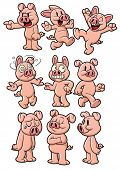Nine cute cartoon pigs. All in separate layers for easy editing.