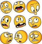 Nine yellow emoticons with worried and scared faces. Vector illustration with simple gradients. All