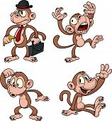stock photo of monkeys  - Cartoon vector monkeys - JPG