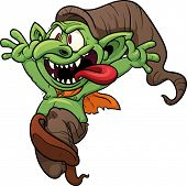 Crazy cartoon goblin. Vector illustration with simple gradients. All in a single layer.