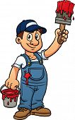 picture of blue-collar-worker  - Cartoon painter holding a paintbrush - JPG