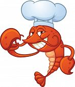 Cartoon Chef lobster. Vector illustration with simple gradients. All in a single layer.