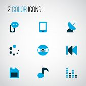 Multimedia Icons Colored Set With Audio Mixer, Previous, Smartphone And Other Cellphone Elements. Is poster