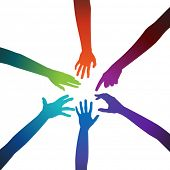 pic of joining hands  - Multicolored hands on a white background - JPG
