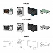 Home Appliances And Equipment Cartoon, Outline, Monochrome Icons In Set Collection For Design.modern poster