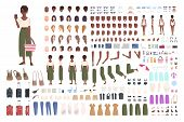 African American Traveler Woman Animation Kit. Collection Of Female Tourist Body Parts, Gestures, To poster