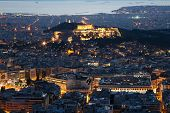Illuminated Acropolis In Athens, Greece At Dusk poster