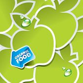 Background from green apples with an arrow by organic food. Vector illustration.