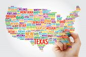Usa Map Word Cloud With Marker, Most Important Cities poster