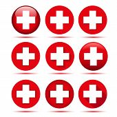Red Cross. Medical Aid Crossed Symbol, Vector Crossing Hospital Sign Isolated On White Background poster