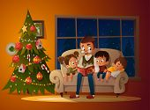 Grandfather Sitting With Grandchildren On A Cozy Sofa With The Book, Near Christmas Tree. Reading An poster