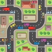 Seamless City Map. Top View Building And Street With Cars And Trucks. Urban Plan Vector Endless Text poster