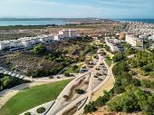 Torrevieja Townscape And Aromatic Park. Above Aerial View To The Cityscape, Roads, Highways And Coas poster