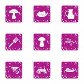 Private Plot Icons Set. Grunge Set Of 9 Private Plot Vector Icons For Web Isolated On White Backgrou poster