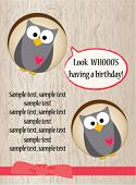 image of happy birthday  - Cute owl birthday card - JPG